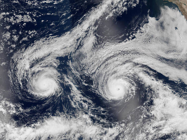 Wall Art - Photograph - Hurricanes Madeline And Lester Threaten by Science Source