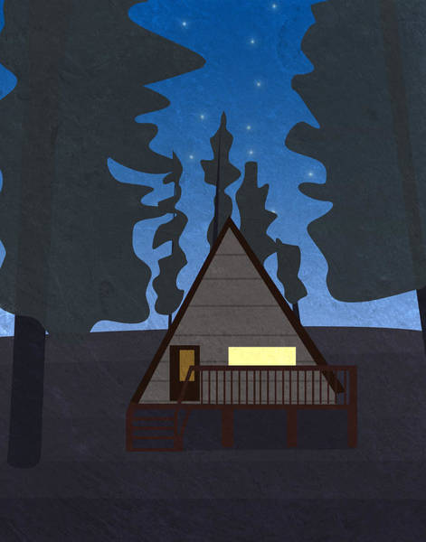 Wall Art - Digital Art - Hut In A Forest At Night by Pati Photography