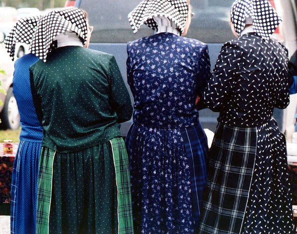 Photograph - Hutterite Women At The Market by Gerry Bates