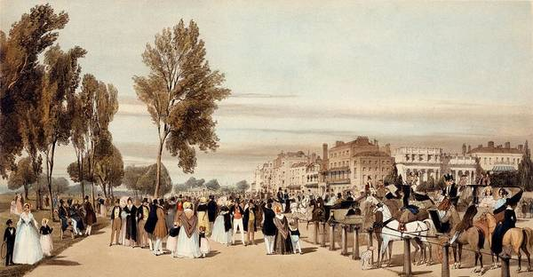 Wall Art - Drawing - Hyde Park, Towards The Grosvenor Gate by Thomas Shotter Boys