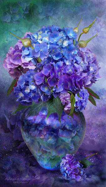 Wall Art - Mixed Media - Hydrangeas In Hydrangea Vase by Carol Cavalaris