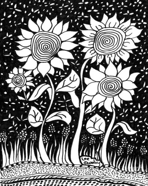 Drawing - Hypnotic Sunflowers by Lee Owenby