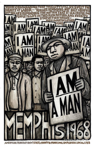 Right Painting - I Am A Man by Ricardo Levins Morales