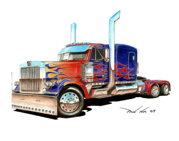 Trailer Drawing - I Am Optimus Prime by Paul Kim