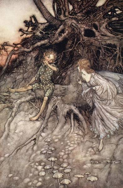 Woodland Drawing - I Am That Merry Wanderer Of The Night by Arthur Rackham