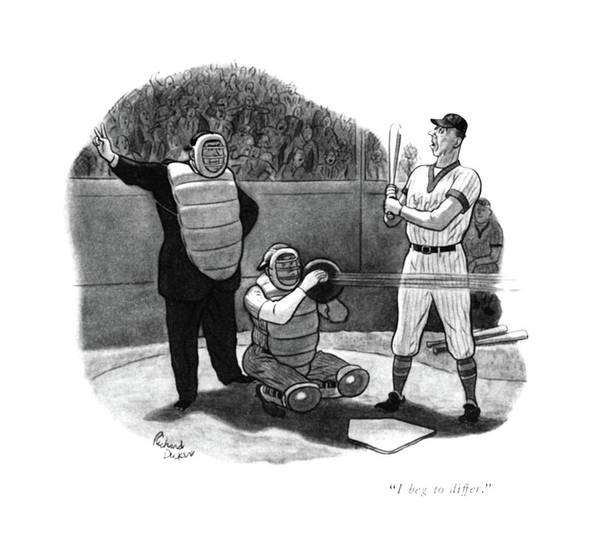 Pitchers Drawing - I Beg To Differ by Richard Decker