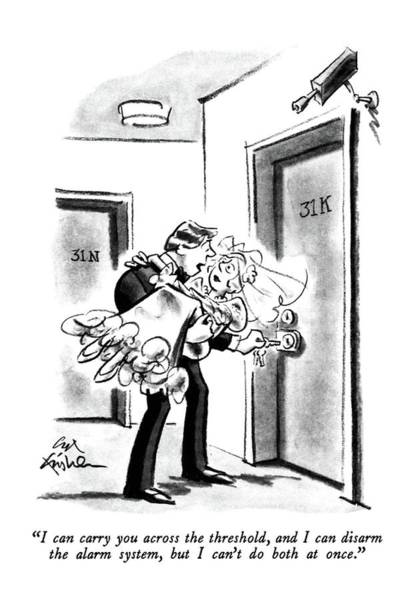 Groom Drawing - I Can Carry You Across The Threshold by Ed Fisher