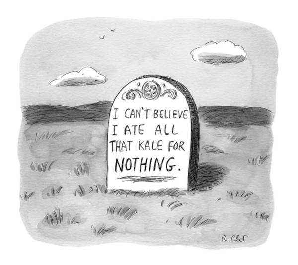 Nothing Drawing - I Can't Believe I Ate All That Kale For Nothing by Roz Chast