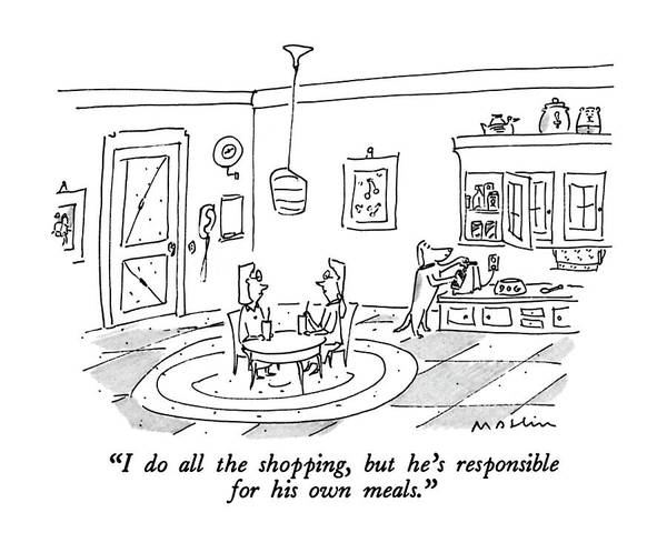 Meal Drawing - I Do All The Shopping by Michael Maslin