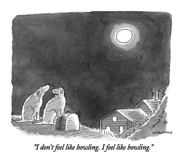 Moon Drawing - I Don't Feel Like Howling.  I Feel Like Bowling by Mick Stevens