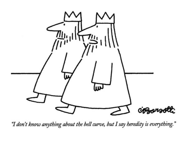 Curve Drawing - I Don't Know Anything About The Bell Curve by Charles Barsotti