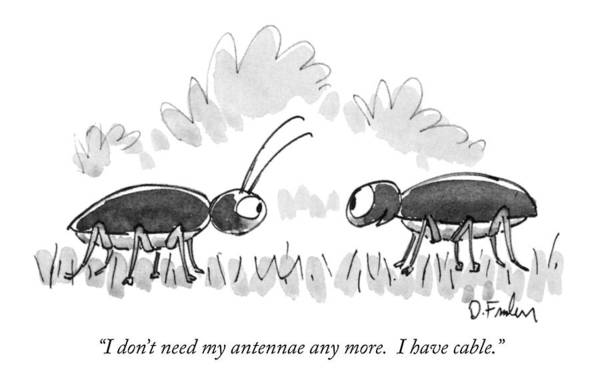 Hallmark Drawing - I Don't Need My Antennae Any More.  I Have Cable by Dana Fradon