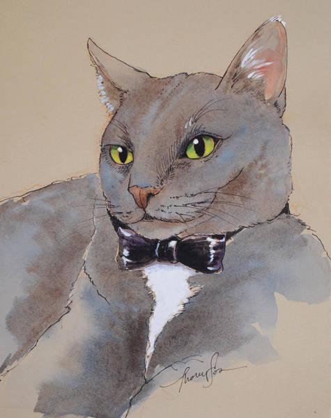 Tuxedo Cat Painting - Bond Villain Kitty by Tracie Thompson