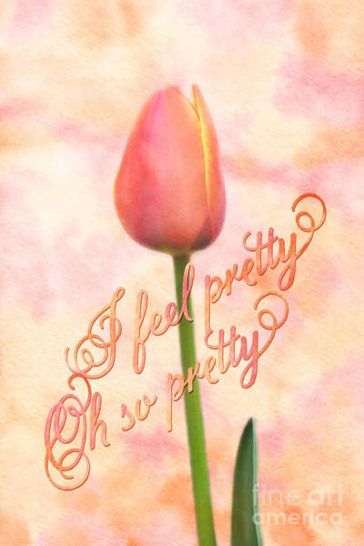 Painting - I Feel Pretty Oh So Pretty Orange Tulip Watercolor Background by Beverly Claire Kaiya