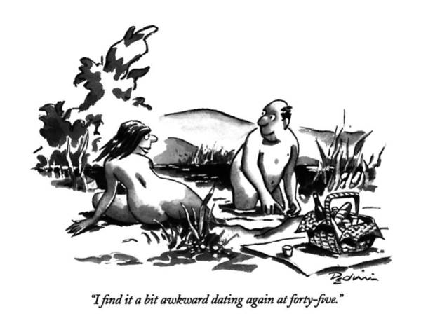 Naked Men Drawing - I Find It A Bit Awkward Dating by Eldon Dedini