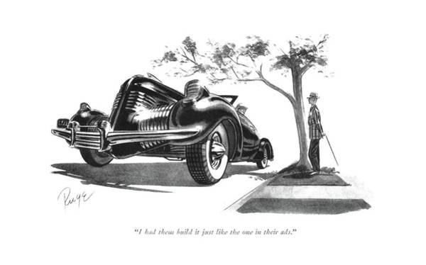Sports Car Drawing - I Had Them Build It Just Like The One by John Ruge