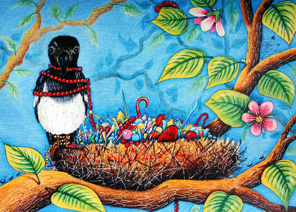 Magpies Drawing - I Have Got It And It Has Got Me by Elizabeth Ida Novotna