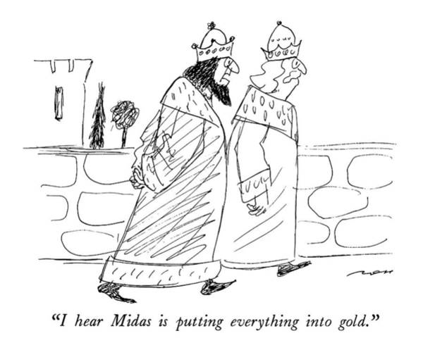 Bank Drawing - I Hear Midas Is Putting Everything Into Gold by Al Ross