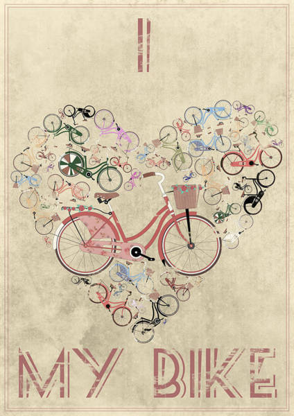 Cool Mixed Media - I Heart My Bike by Andy Scullion