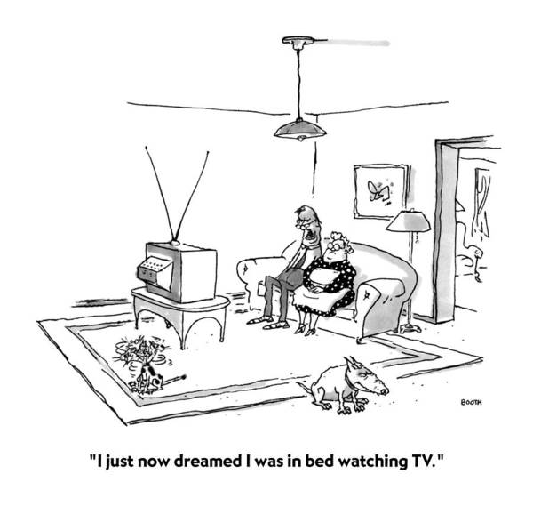 Hallmark Drawing - I Just Now Dreamed I Was In Bed Watching Tv by George Booth