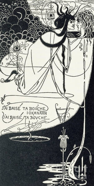 Erotic Drawing - I Kissed Your Mouth by Aubrey Beardsley