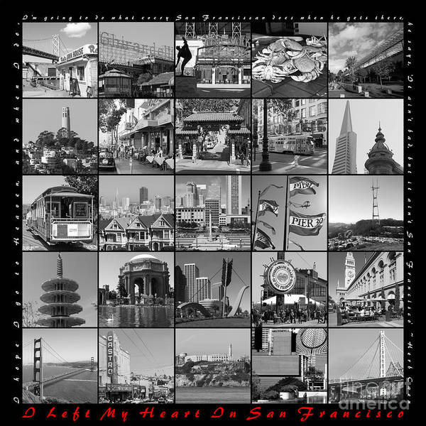 Photograph - I Left My Heart In San Francisco 20150103 Bw With Text by Wingsdomain Art and Photography