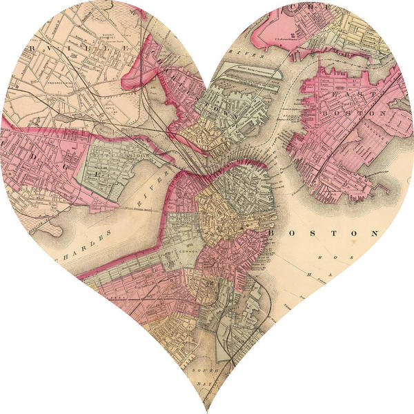 Road Map Photograph - I Love Boston Heart Map by Georgia Fowler