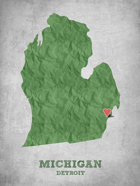 Great Lakes Digital Art - I Love Detroit Michigan - Green by Aged Pixel