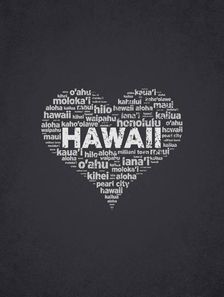 Polynesia Wall Art - Digital Art - I Love Hawaii by Aged Pixel