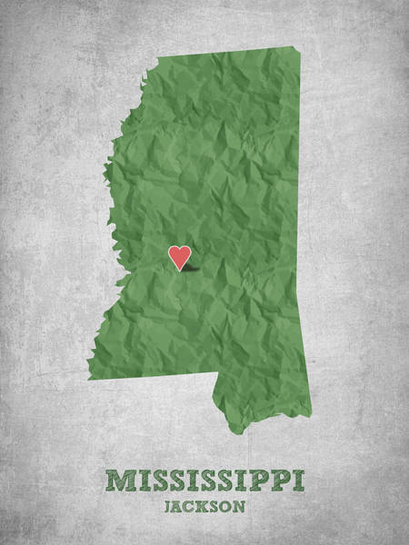 Wall Art - Drawing - I Love Jackson Mississippi - Green by Aged Pixel