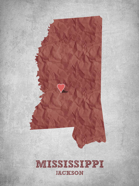 Wall Art - Drawing - I Love Jackson Mississippi - Red by Aged Pixel