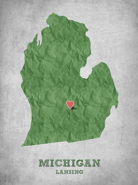 Great Lakes Digital Art - I Love Lansing Michigan - Green by Aged Pixel