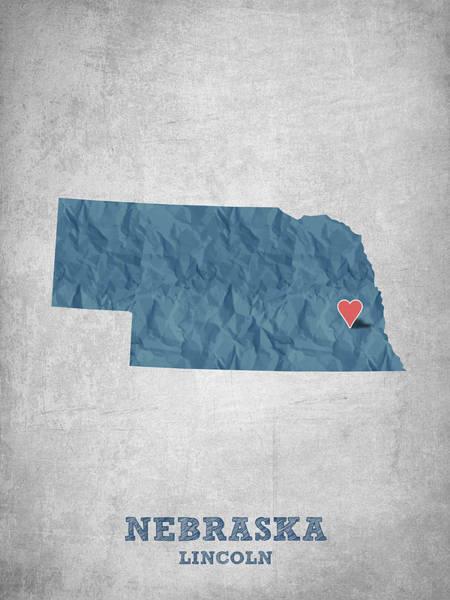 Lincoln Digital Art - I Love Lincoln Nebraska - Blue by Aged Pixel
