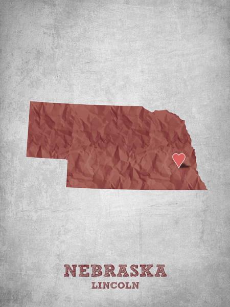 Lincoln Digital Art - I Love Lincoln Nebraska - Red by Aged Pixel