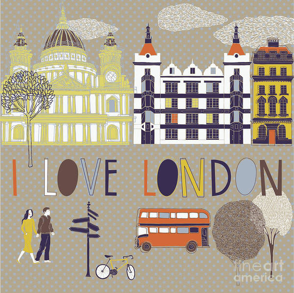 Buildings Digital Art - I Love London Print Design by Lavandaart