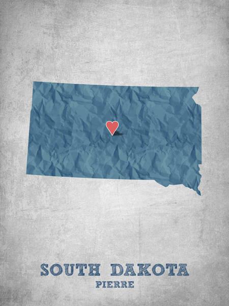 Mounted Digital Art - I Love Pierre South Dakota - Blue by Aged Pixel