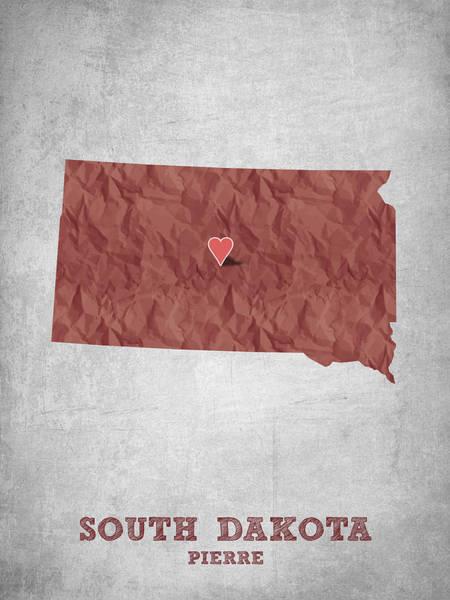 Mounted Digital Art - I Love Pierre South Dakota - Red by Aged Pixel