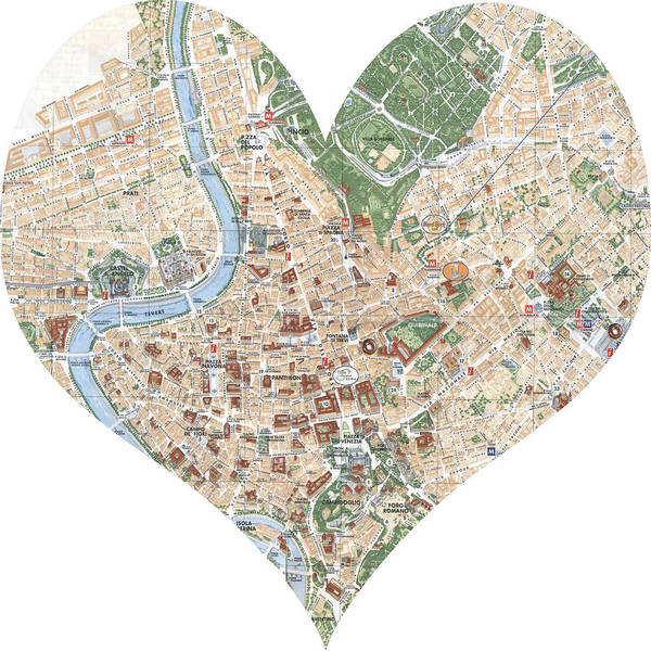 Road Map Photograph - I Love Rome Heart Map by Georgia Fowler