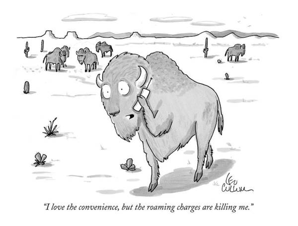 Buffalo Drawing - I Love The Convenience by Leo Cullum