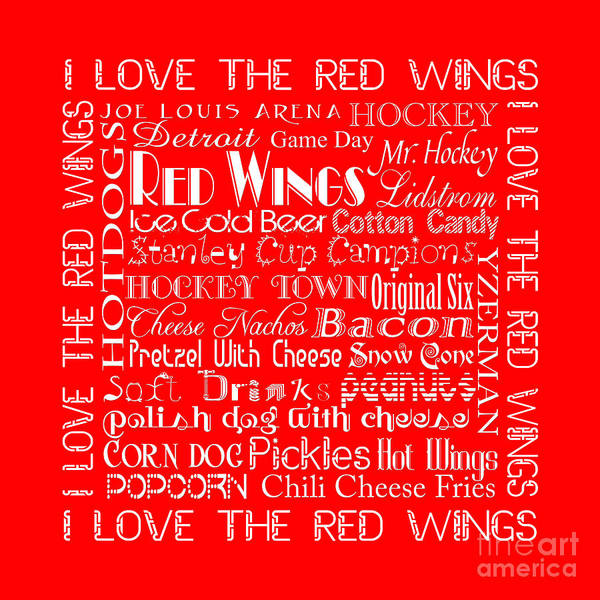 Digital Art - I Love The Red Wings Pillow 2 by Andee Design