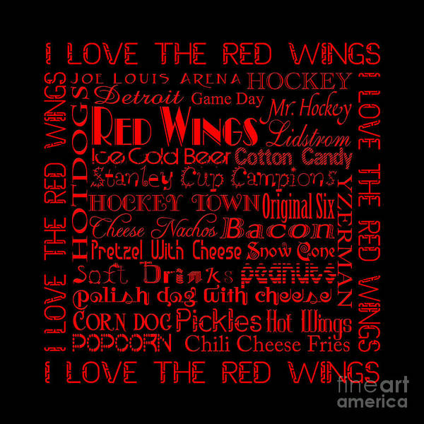 Digital Art - I Love The Red Wings Pillow 3 by Andee Design