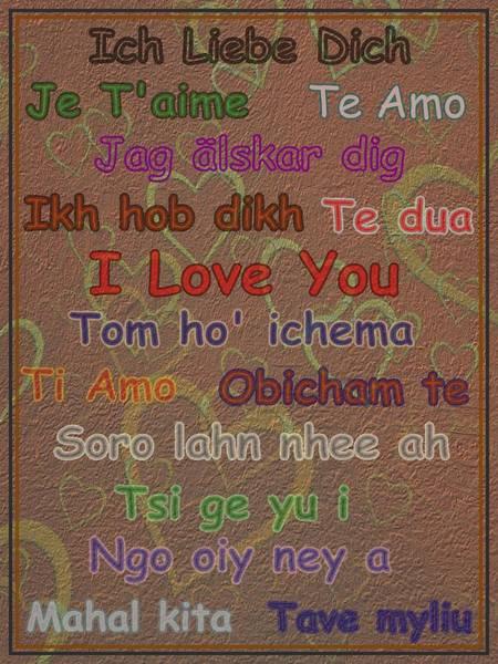Dehner Digital Art - I Love You 15 Languages  by David Dehner