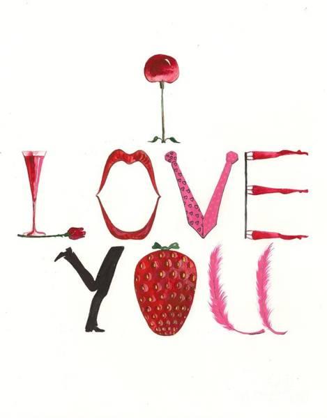 Pink Champagne Painting - I Love You by Margaryta Yermolayeva