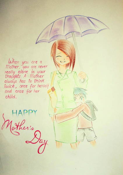 Singh Drawing - Mother's Day- I Love U Mom by Tanmay Singh