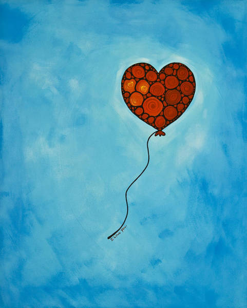 Blue Heart Wall Art - Painting - I Love You by Sharon Cummings