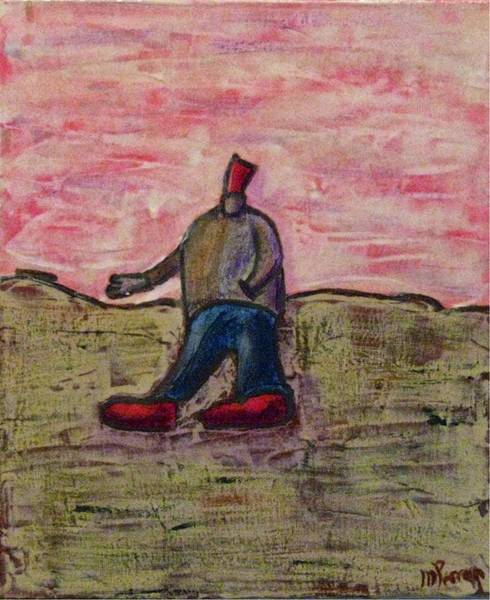 Painting - I Only Go For Walks In My Red Hat And Red Shoes by Mario MJ Perron