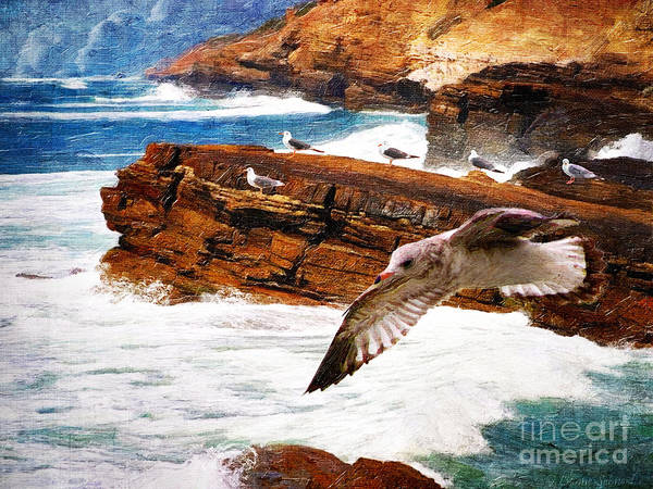 Seagull Digital Art - I Stand Amid The Breakers by Lianne Schneider