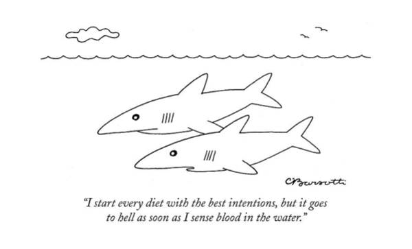 Shark Drawing - I Start Every Diet With The Best Intentions by Charles Barsotti