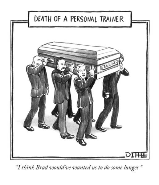 Personal Wall Art - Drawing - Death Of A Personal Trainer by Matthew Diffee