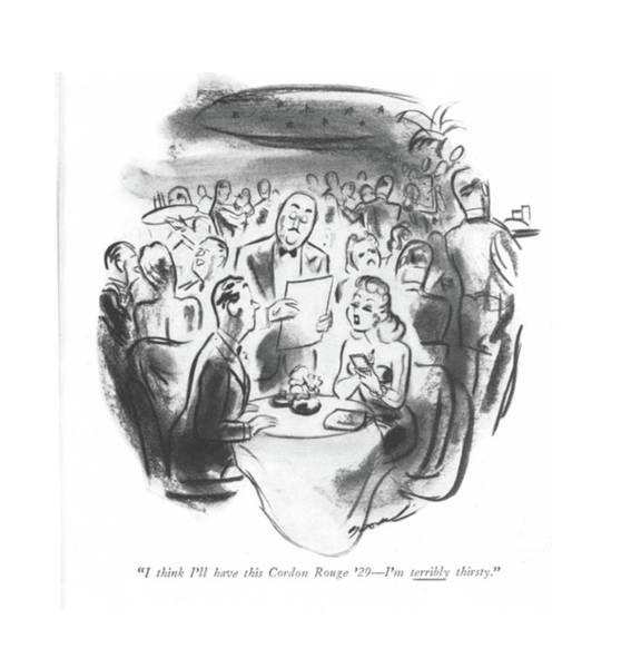 Wine Tasting Drawing - I Think I'll Have This Cordon Rouge '29 - I'm by Leonard Dove